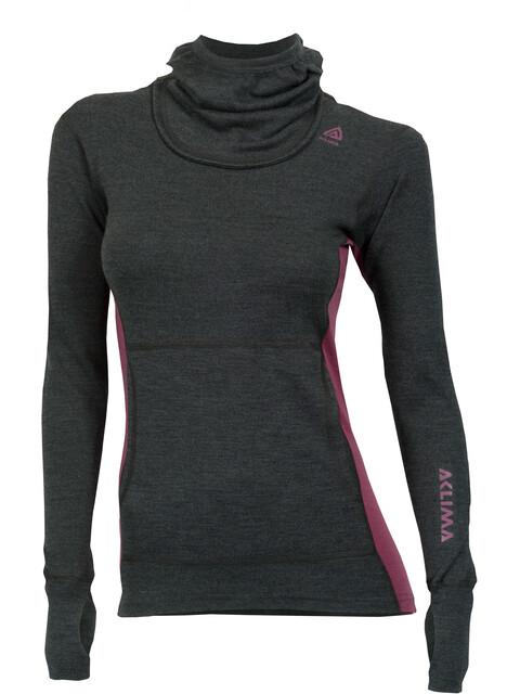 Aclima W's WarmWool Hood Sweater Marengo/Damson